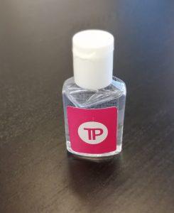 Pieni käsidesipullo, jossa Tukipilarin logo