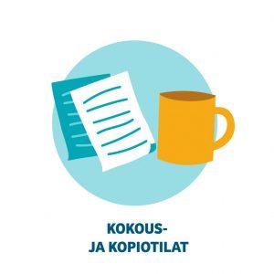 Vaalean sinisen ympyrän sisällä kaksi paperiarkin kuvaa vasemmalla ja keltainen kahvikuppi oikealla. Alla lukee kokous- ja kopiointitilat