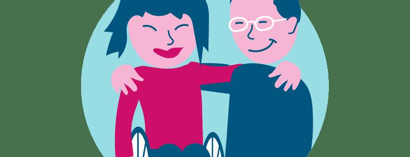 Kuvassa nainen pyörätuolissa ja mies seisten pitävät käsiänsä toistensa hartioilla. Turkoosi ympyrä taustalla.