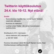 Twitterin käyttökoulutus 24.4. klo 10-12. Nyt etänä! Sisältö Koulutuksessa käydään läpi, kuinka käytät Twitteriä viestinnän välineenä. Koulutus on maksuton. Luothan oman Twitter –tilin ennen koulutukseen osallistumista. Ilmoittaudu to 23.4. mennessä: minna.mielonen (AT) tukipilari.fi p. 040 557 4646 Koulutus toteutetaan etänä Microsoft Teamsin kautta. Saat ilmoittautuessasi osallistumislinkin.