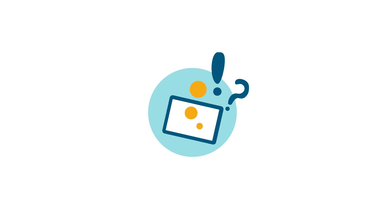 Kuvituskuva koulutuksista. Vaaleansinisen ympyrän keskellä neliskulmio, josta lähteee keltaisia palloja sekä sininen huutomerkki ja kysymysmerkki.