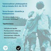 Toiminnallinen yhdistyspäivä: tule ja tutustu 24.3. klo 10-15! Terve Kuopio –kioskilla ja Kohtaamossa. Tervetuloa tutustumaan yhdistysten toimintaan Terve Kuopio -kioskille ja Kohtaamoon! Tapahtumassa: - Värityskuvia lapsille - Puristusvoiman mittausta - Spirometriamittausta - Verenpaineen mittausta - Alkometrimittausta