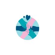 Kuva jossa vaalean sinisen ympyrän keskellä kuusi kättä kohtaavat. Kuvassa myös kaksi sydäntä.